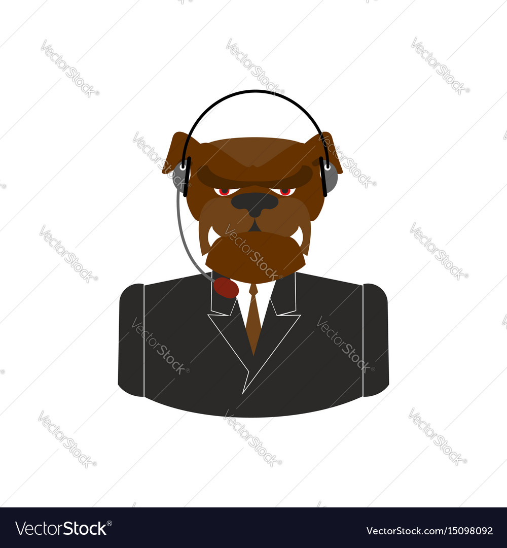 Pet call center dog with headset bulldog feedback