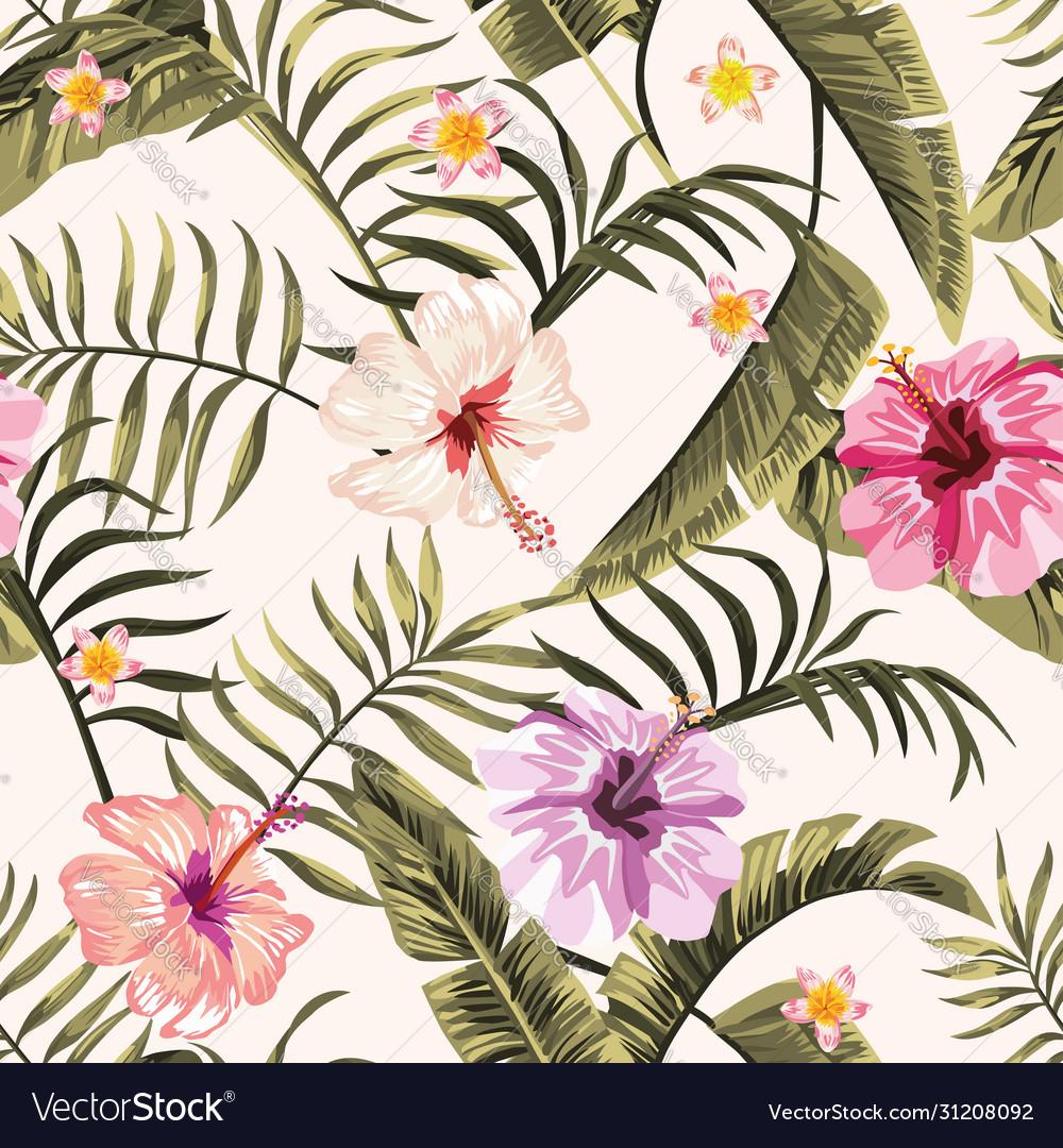 Seamless tropical wallpaper flowers hawaiian