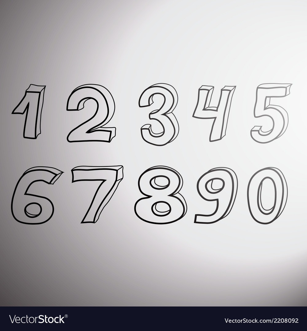 Set of artistic numbers