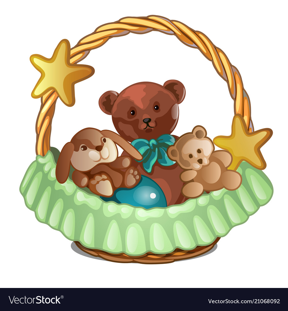 Set of plush bears and a rabbit in wicker basket