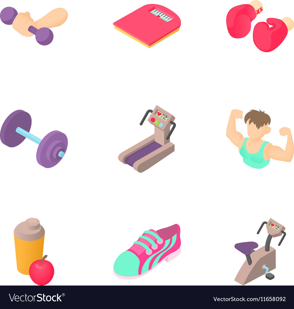 Sport icons set cartoon style vector image