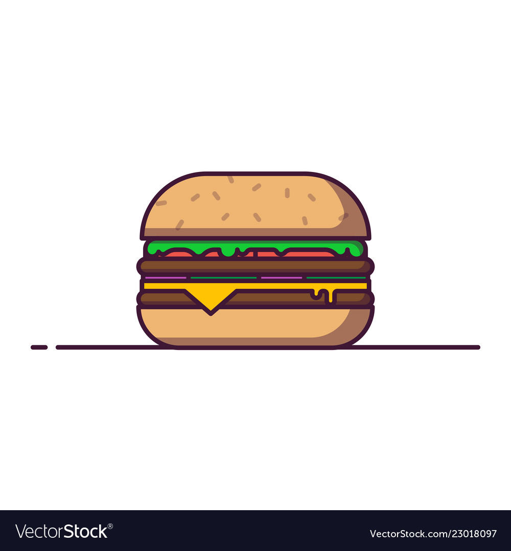 Big burger in line style