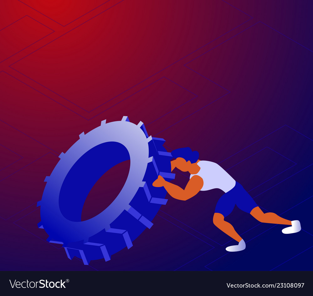Cartoon sportsman pushing tyre and training all