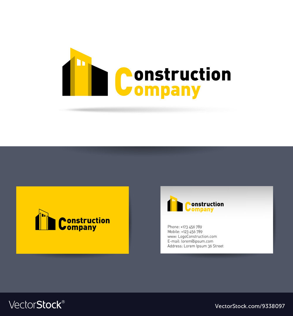 Construction Company Business Card Template Vector Image