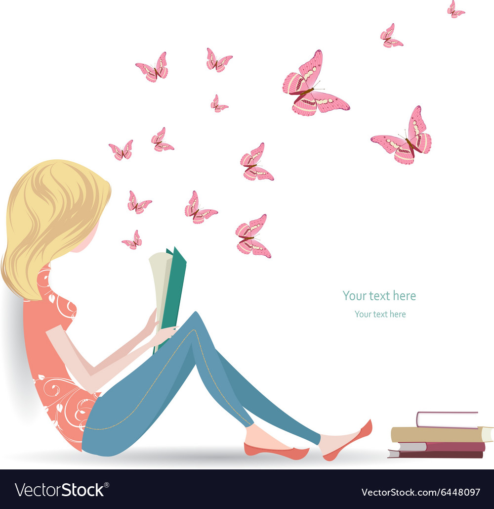 Cute girl is reading a sweet book
