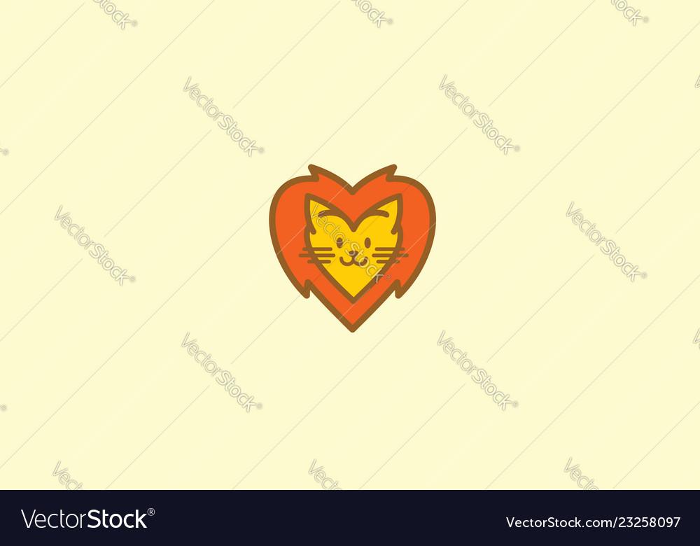 Cute lion love logo icon