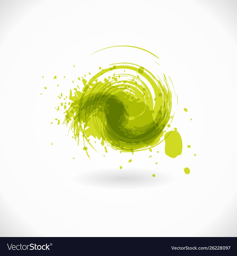 Green grunge circle shape curl symbol