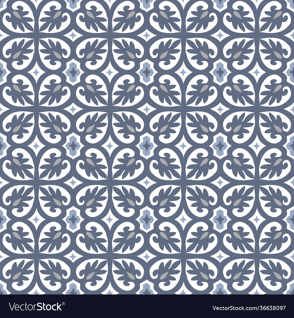 Hand drawn blue moroccan seamless pattern for