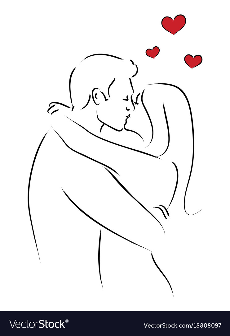 Line art of kissing couple