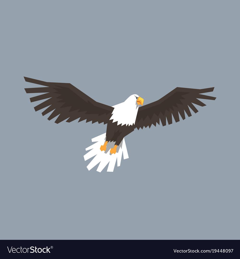 North American Bald Eagle Flying Symbol Of Vector Image