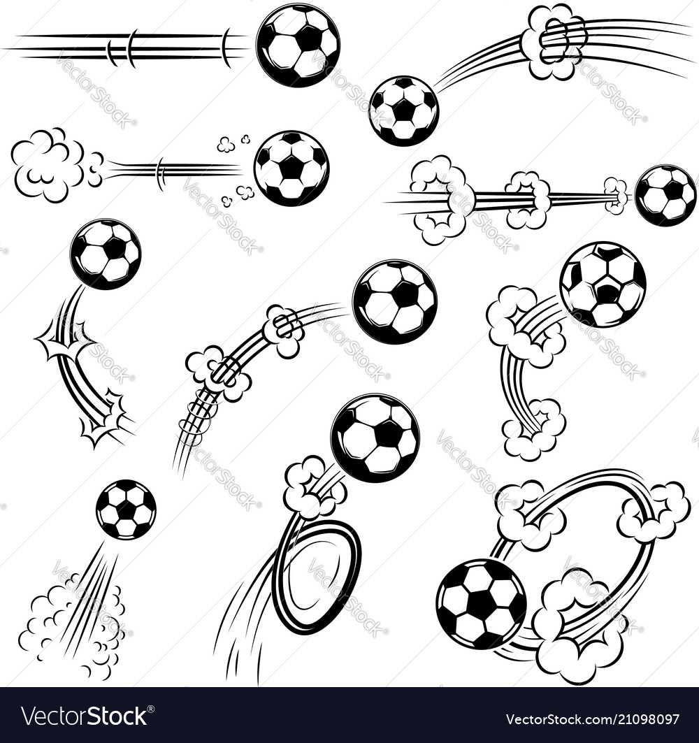 Set of football soccer balls with motion trails