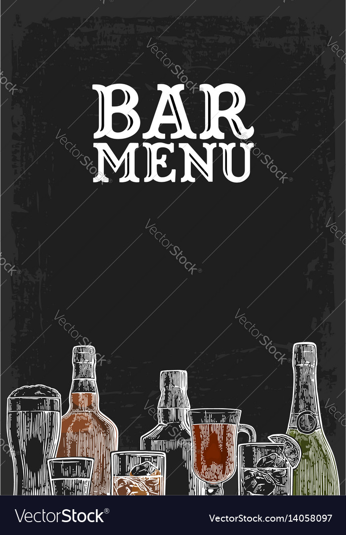 Template for bar menu alcohol drink