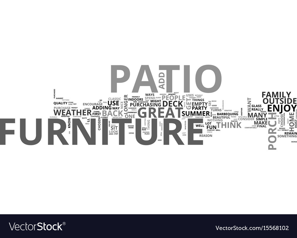 Add Great Patio Furniture Text Word Cloud Concept Vector Image
