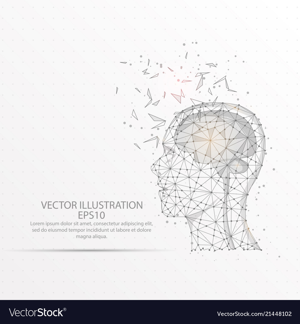 Brain with human head low poly wire frame on