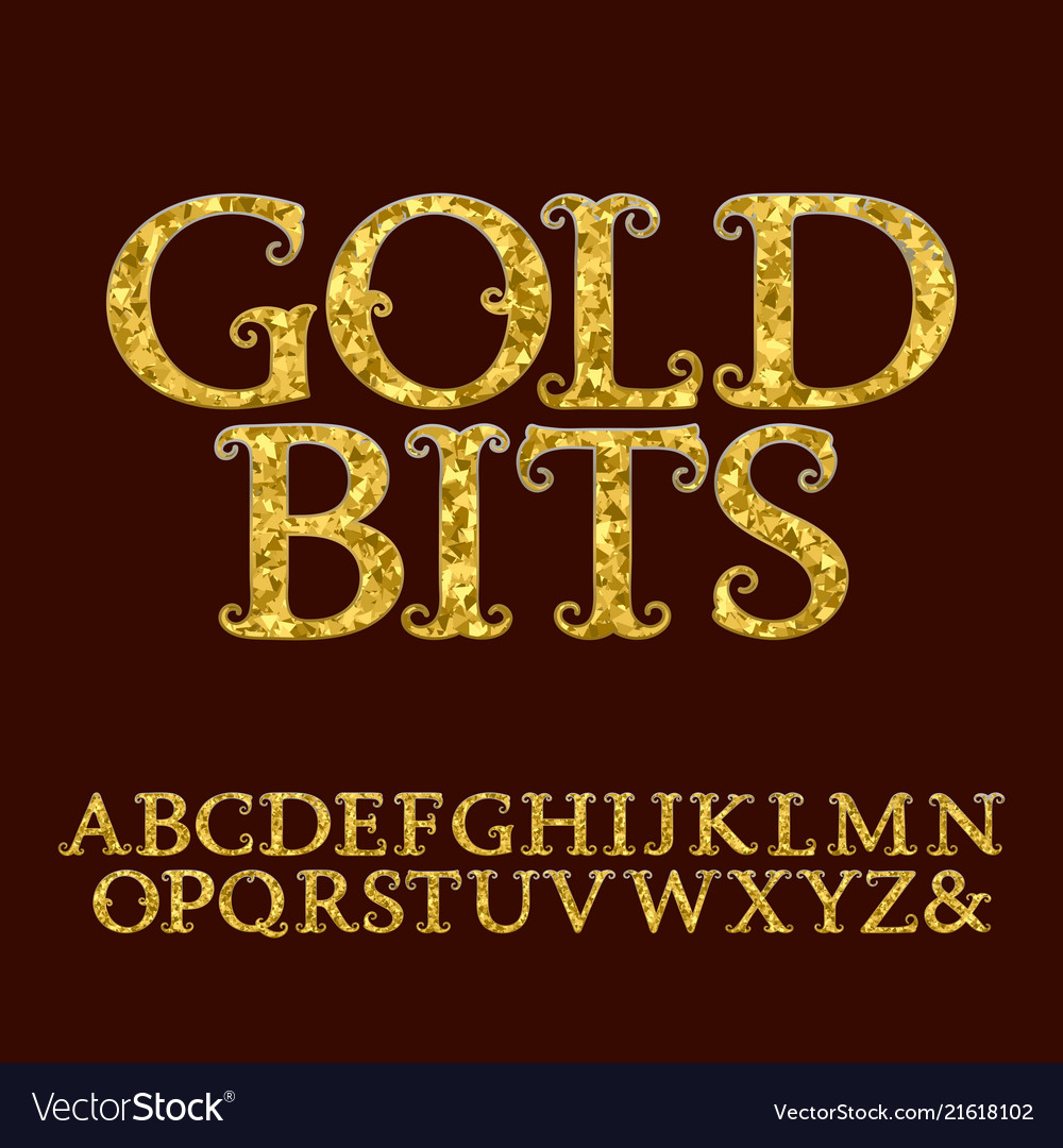 Golden letters incrusted glittering fragments