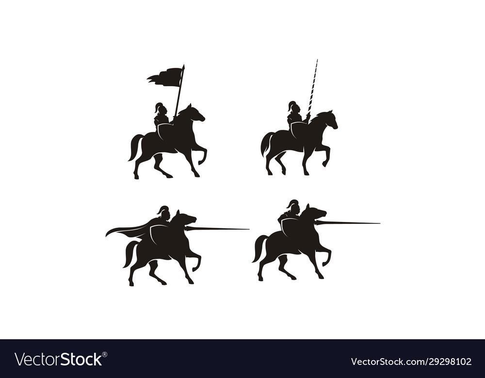 Horseback knight armor horse warrior logo