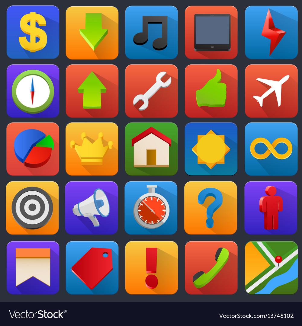 Icon set multimedia mobile software