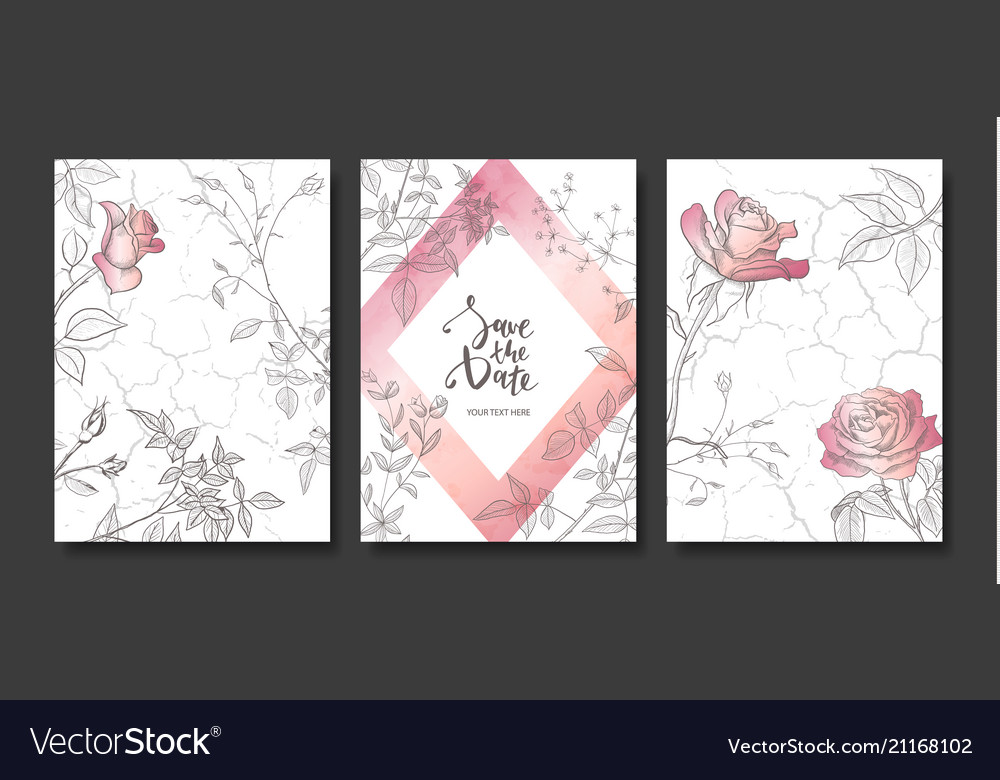 Luxury cards collection with marble texture hand