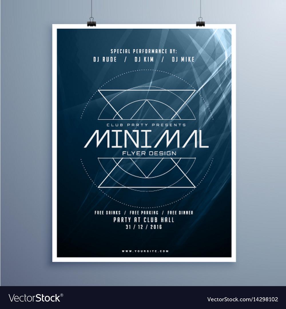 Minimal elegant music flyer template in blue
