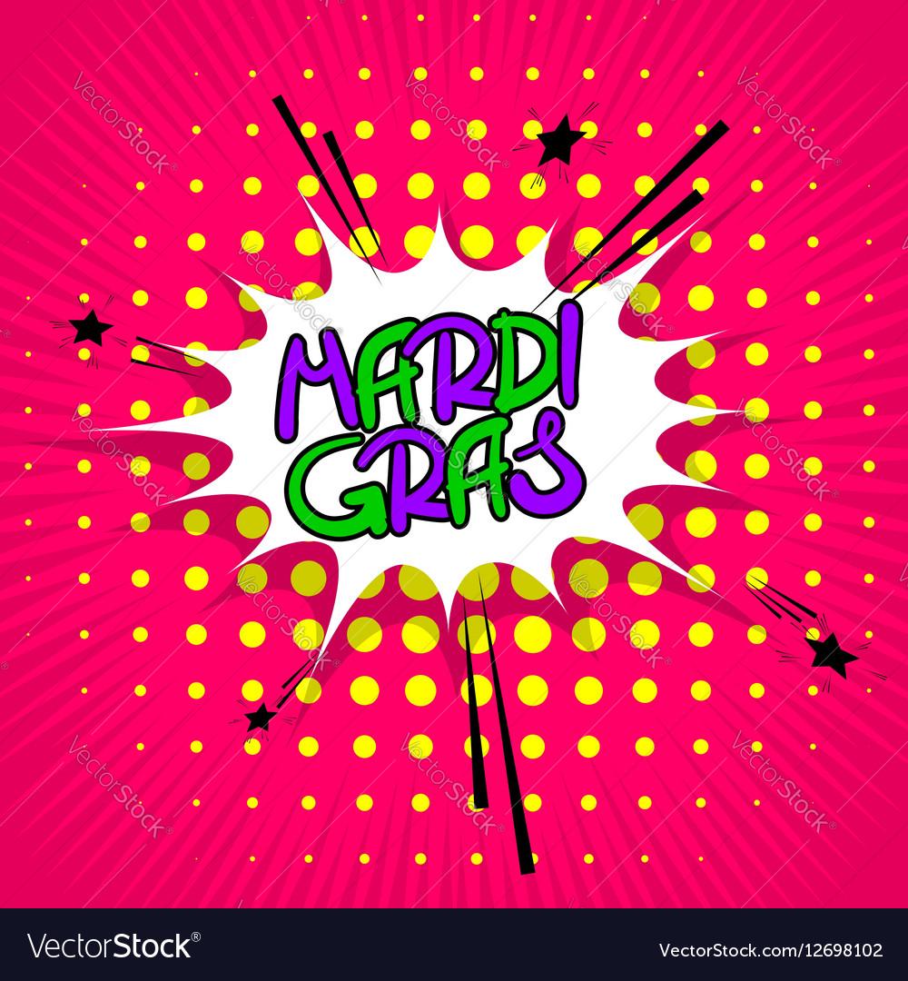 Pink lettering Mardi Gras
