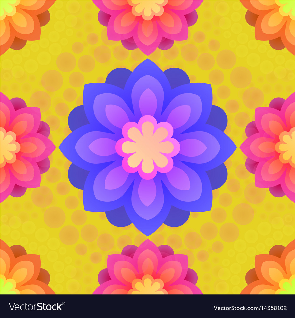 Seamless pattern with mandalas flowers vintage