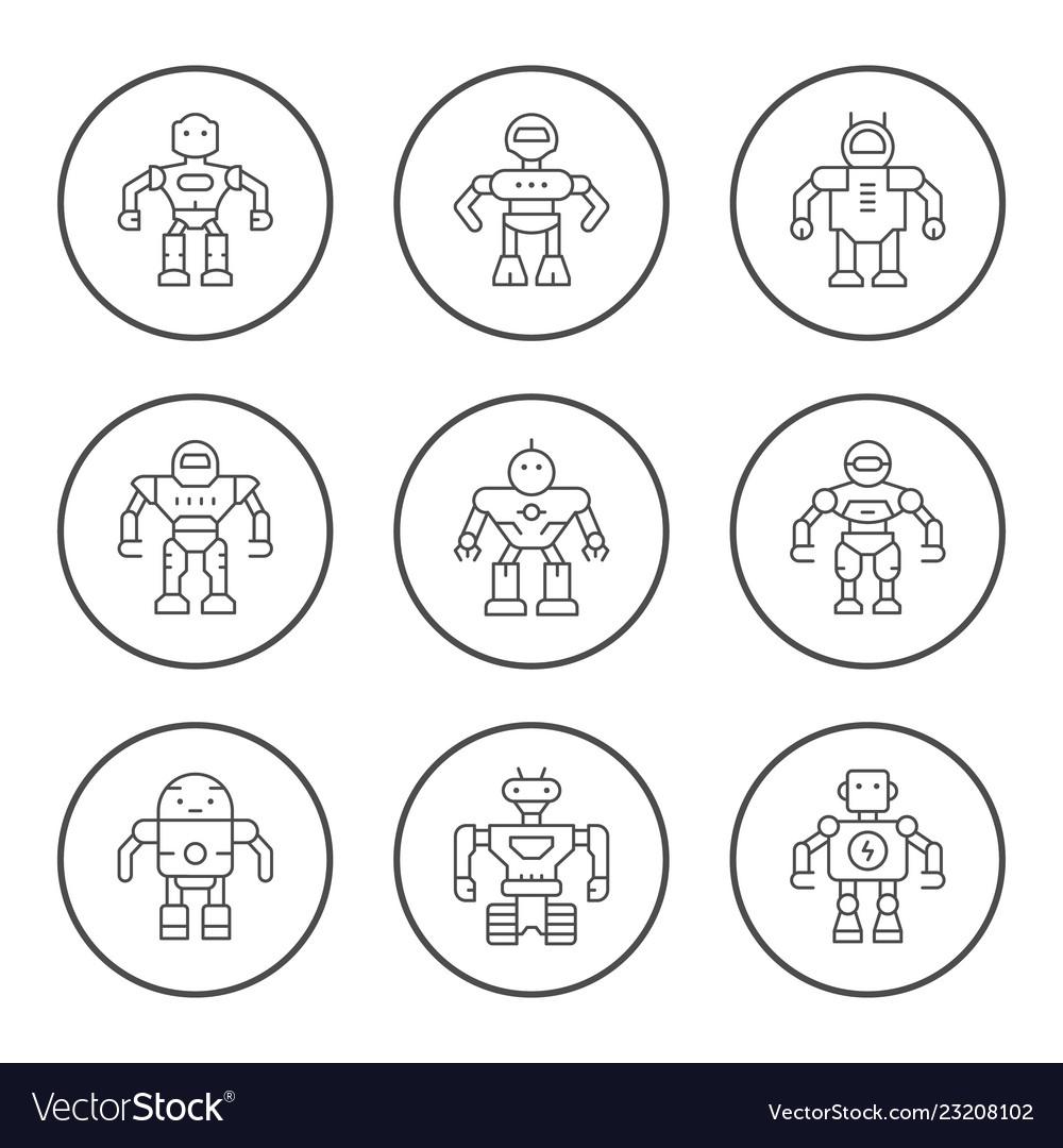 Set round line icons robot