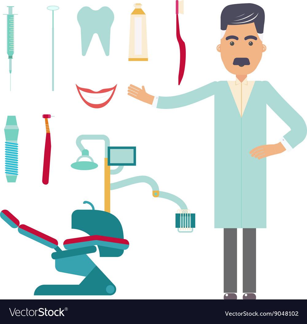 Stomatologist Dental care flat decorative icons