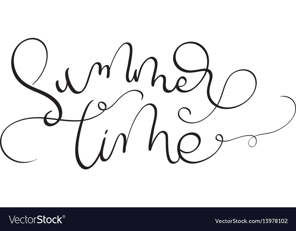 Summer time text on white background hand drawn vector image