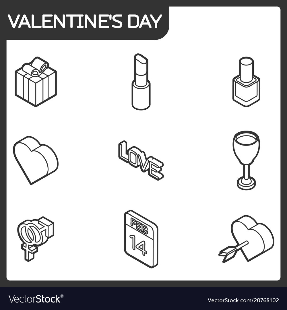 Valentines day color outline isometric icons