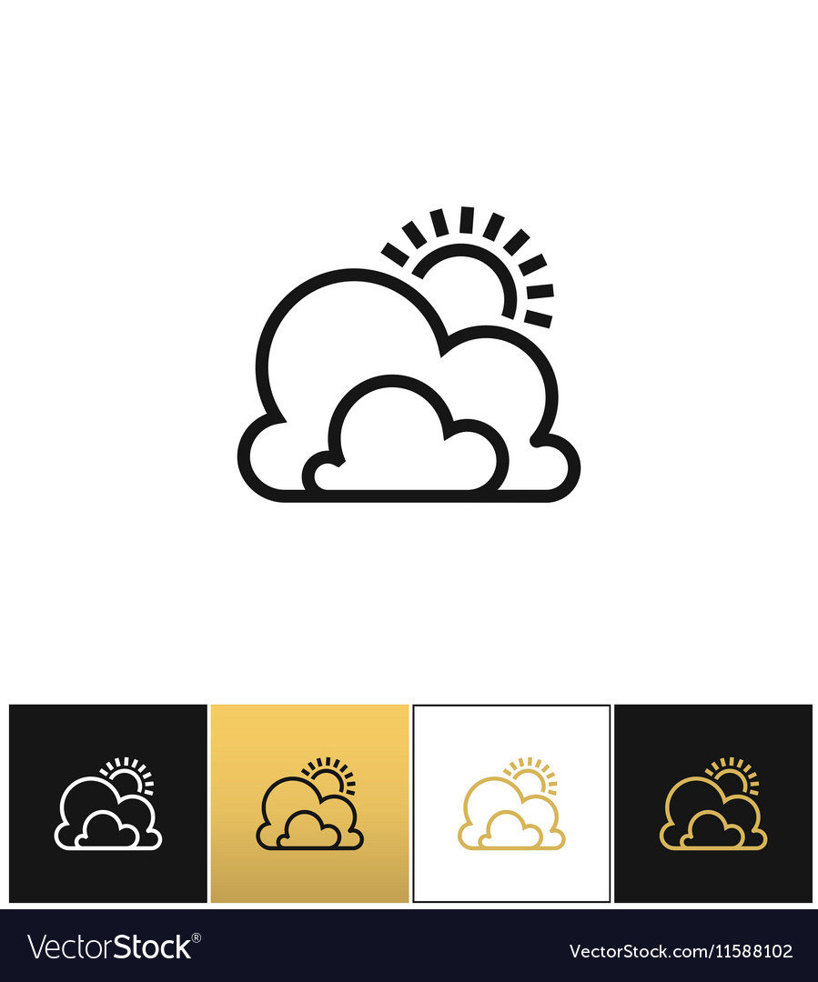 Weather symbol or sun and clouds outline
