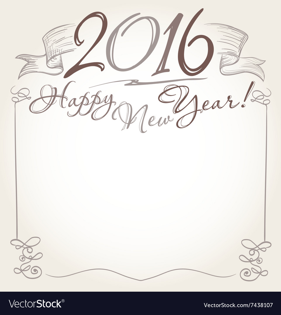 2016 and Happy New Year words Royalty Free Vector Image