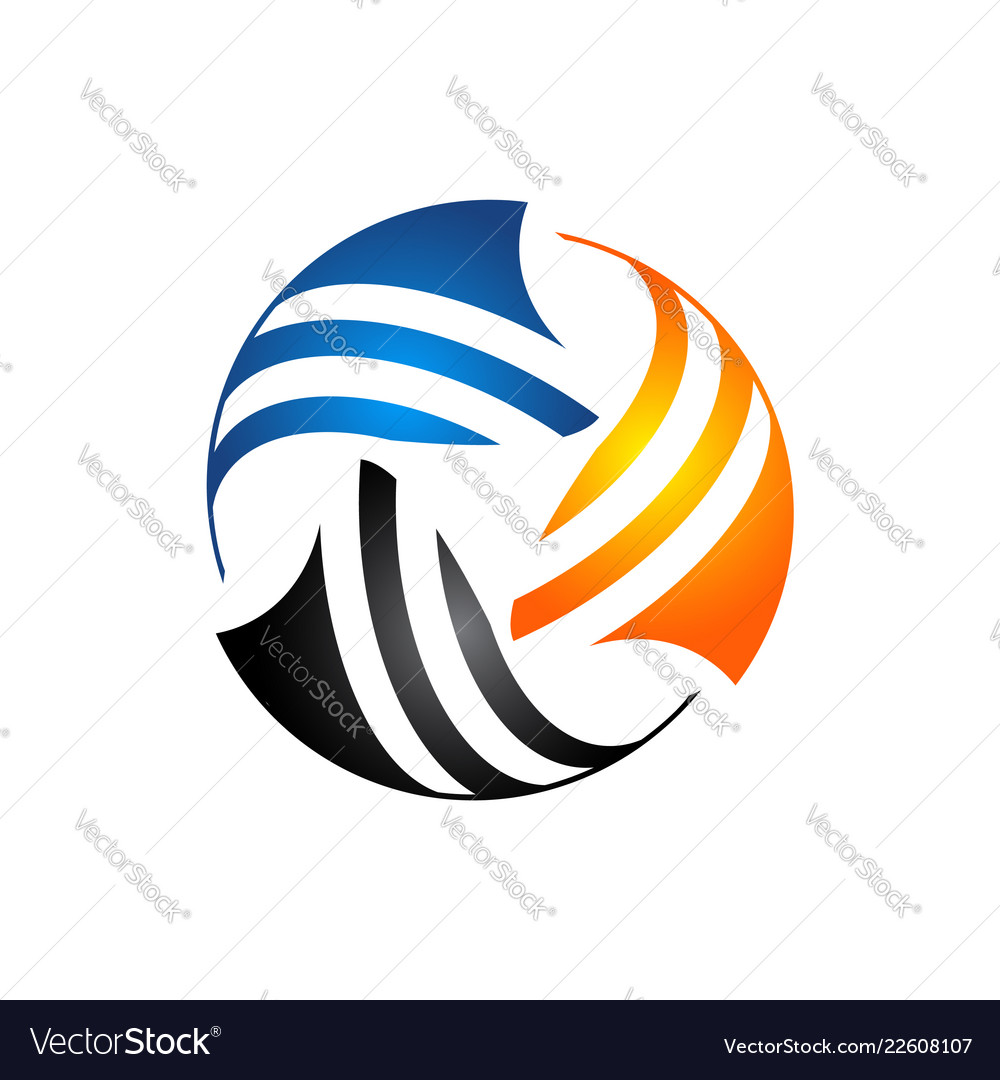 Abtract colorful circle global logo template