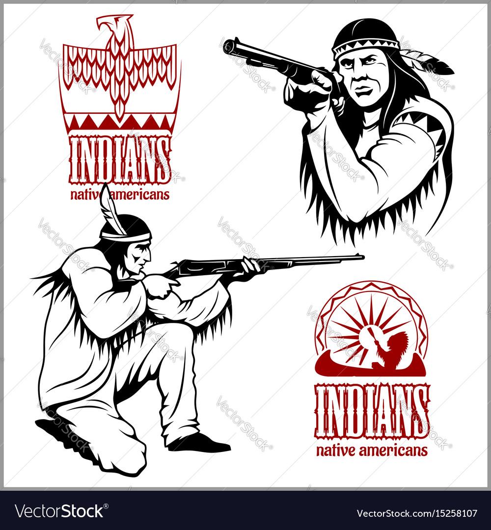 American indians set of vintage emblems labels