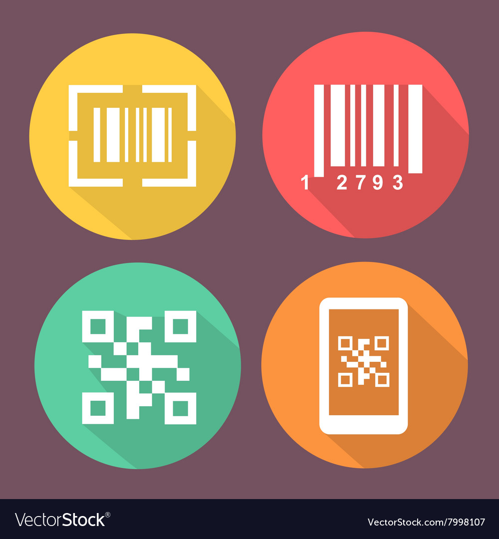Bar and Qr code icons Smartphone symbols with