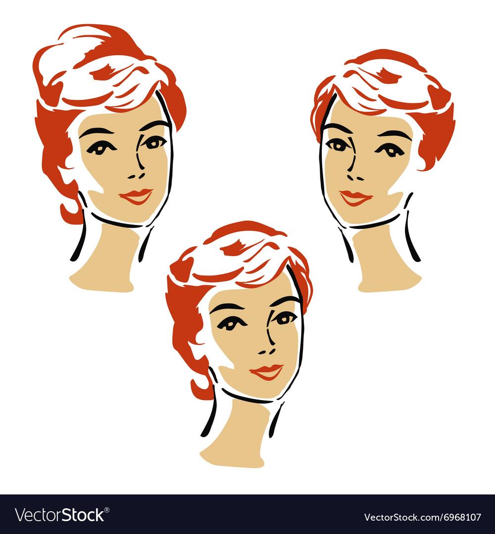 Beautiful elegant woman in retro style vector image