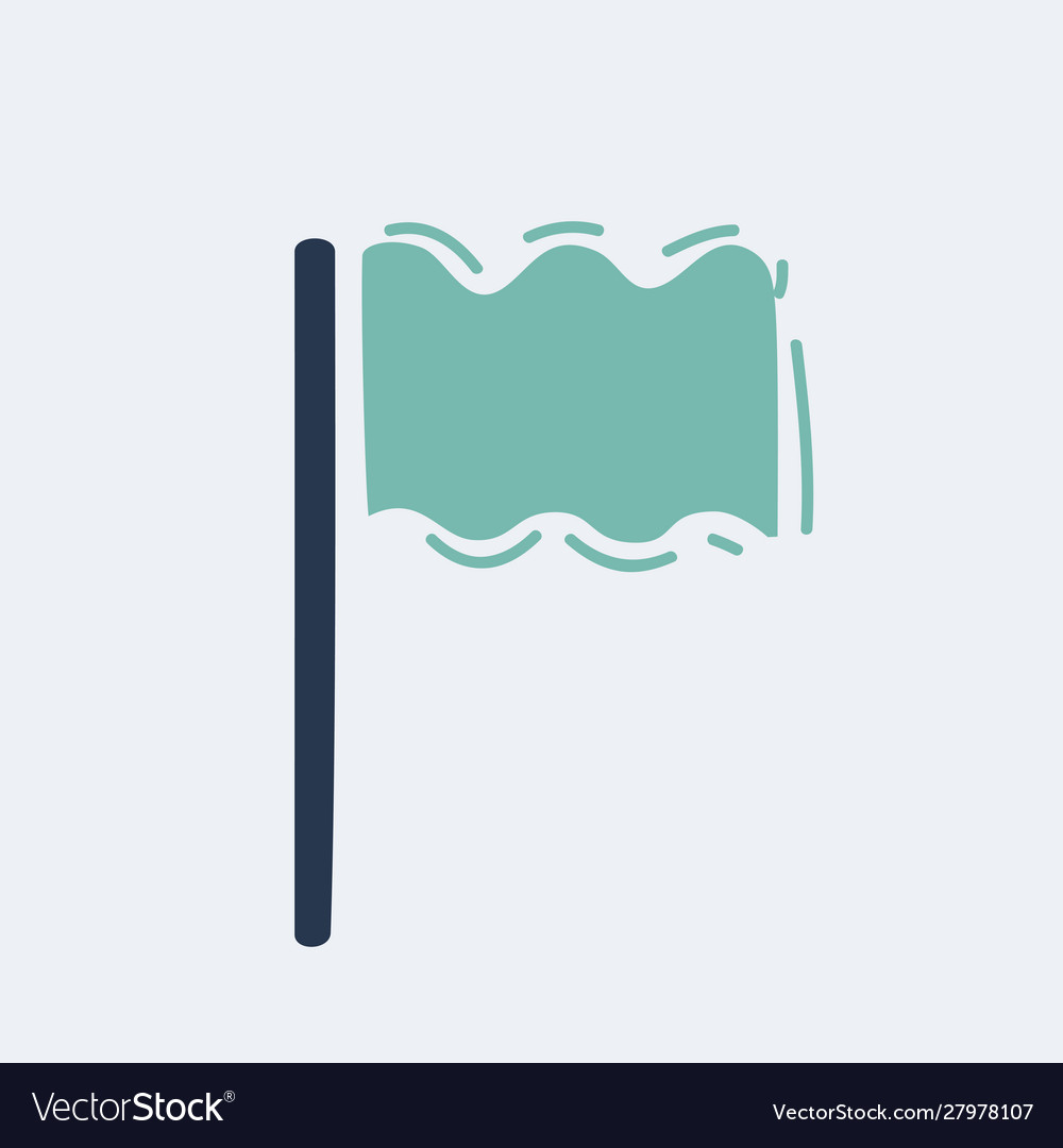 Cartoon flag icon location marker symbol hand