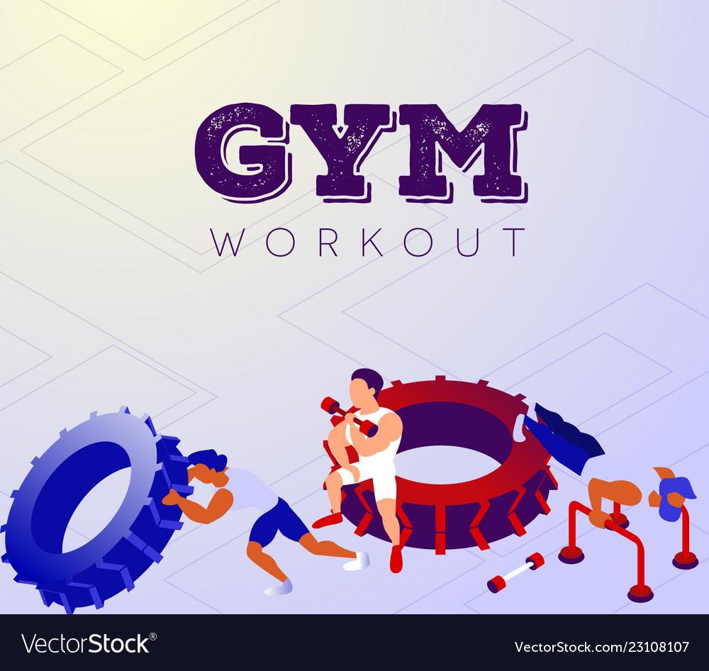 Cartoon team of bodybuilders exercising in sports