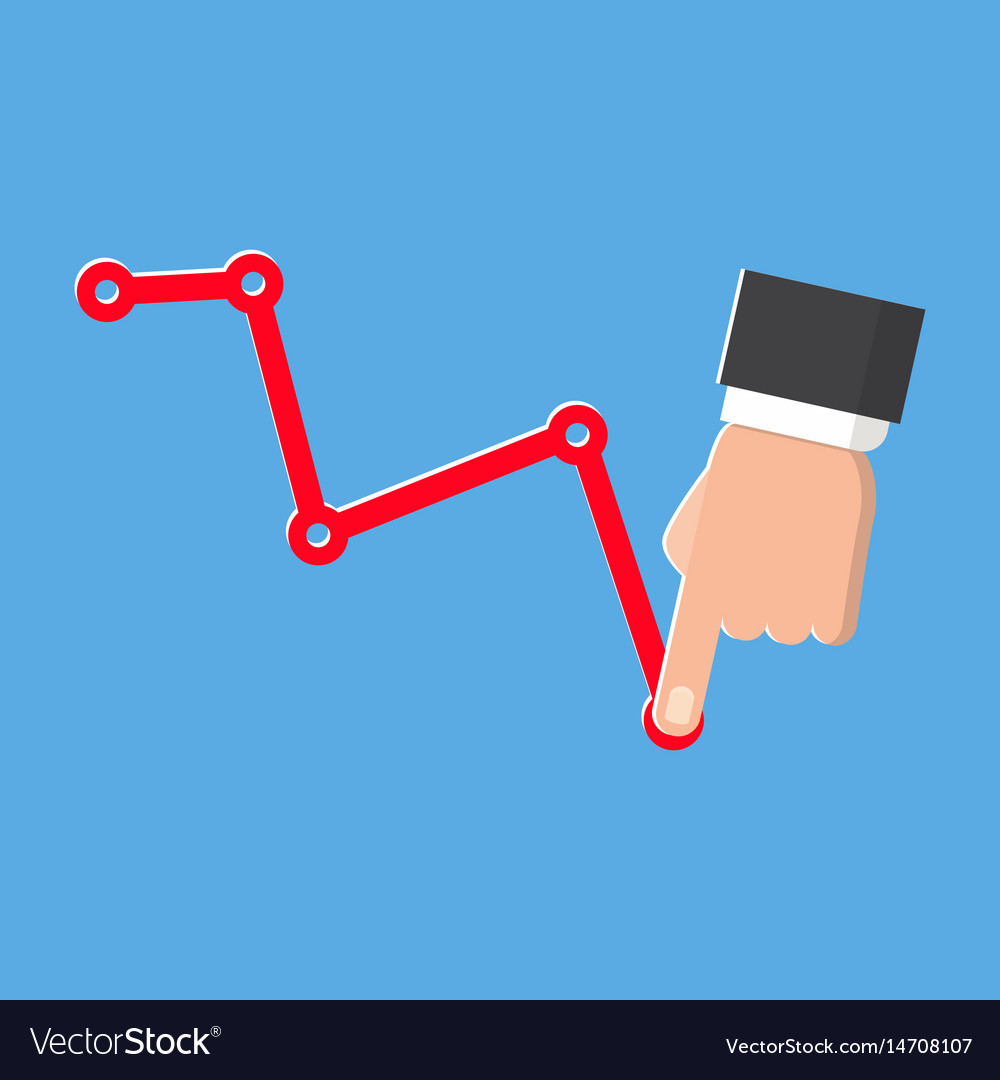 Decrease graph isolated icon on blue vector image