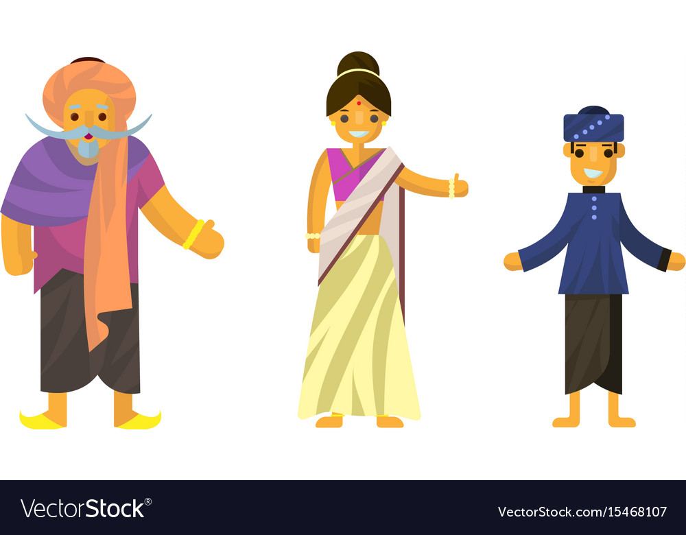 Indians in national dress a man and a woman in vector image