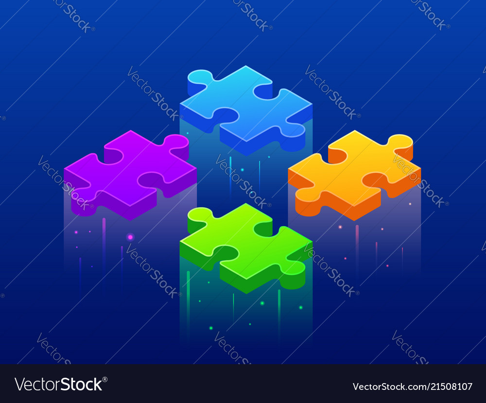 Isometric background four piece puzzle simple 4