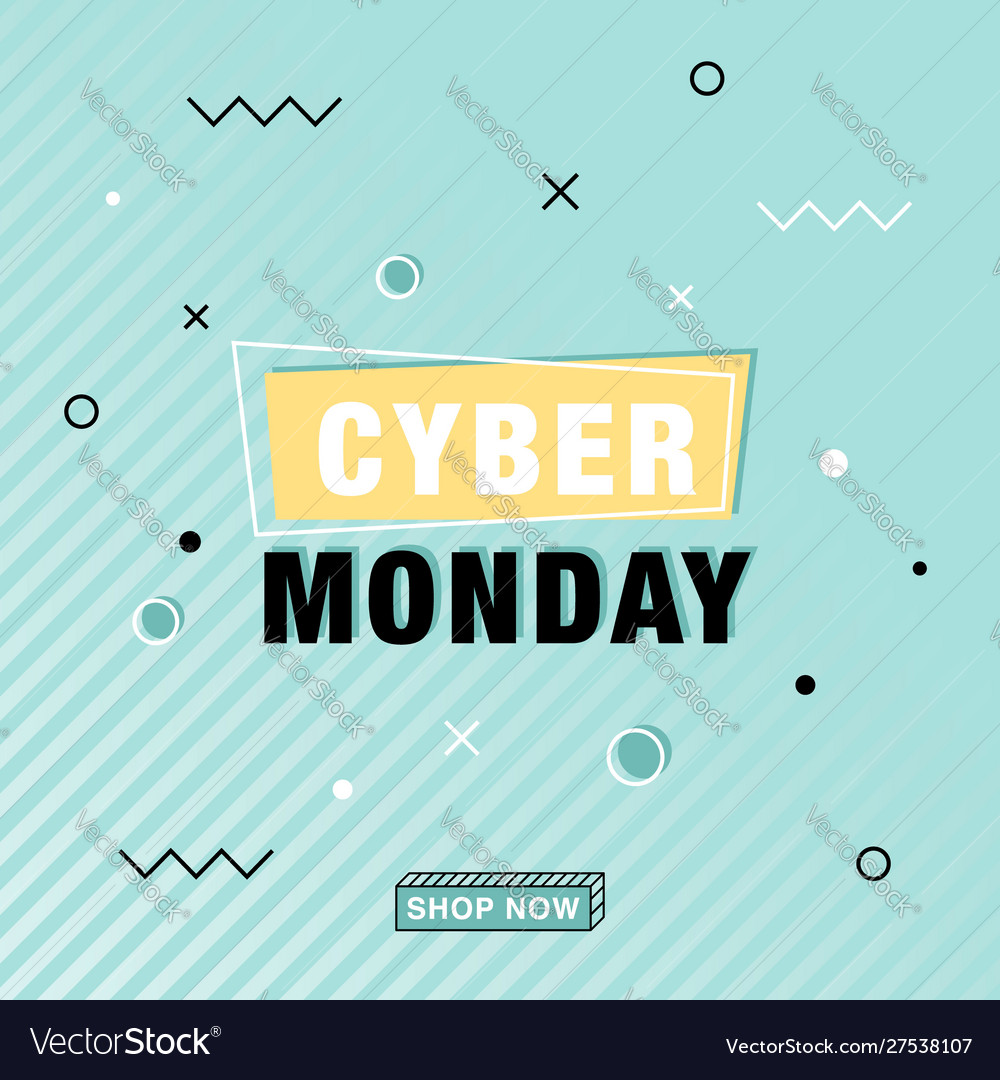 Modern cyber monday banner in memphis style
