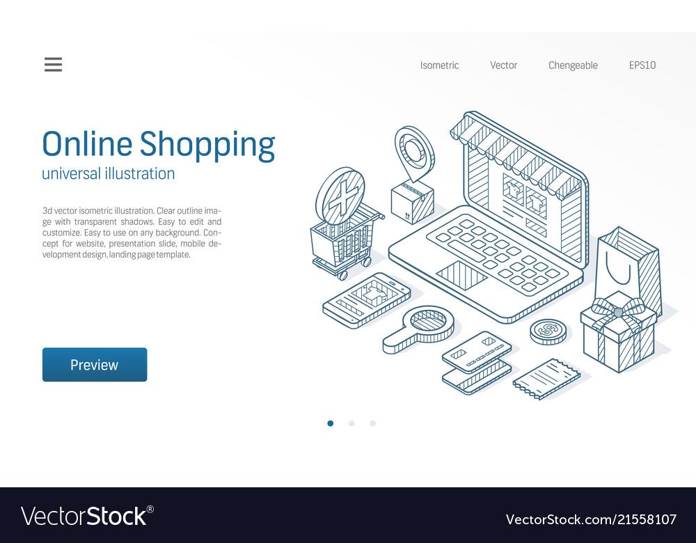 Online shopping modern isometric line
