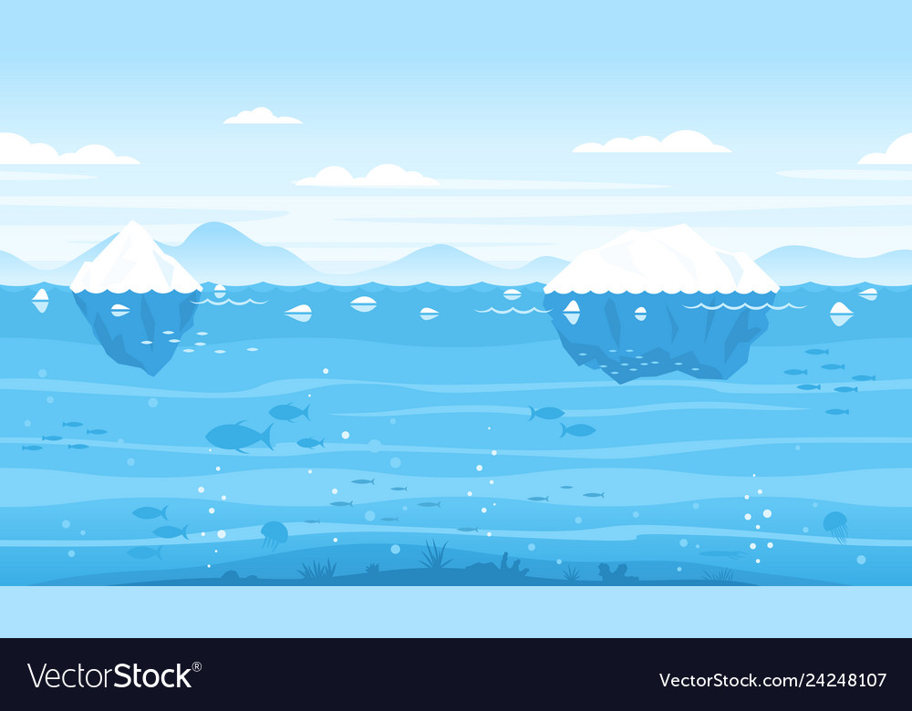 Sea game background with icebergs