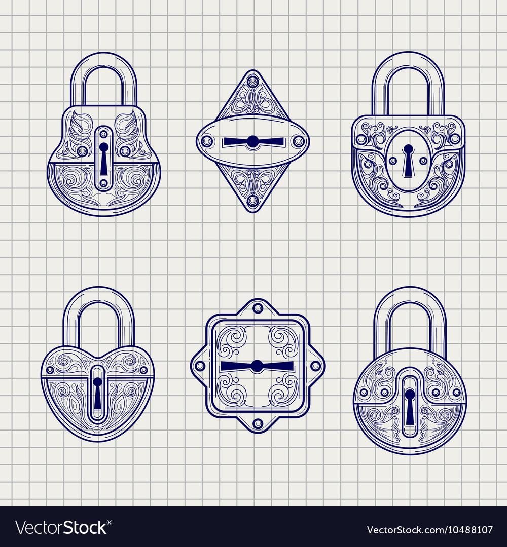 Set of hand drawn ornamental locks