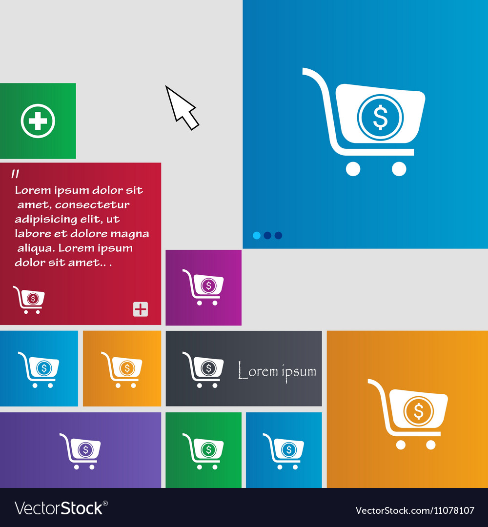 Shopping cart icon sign buttons Modern interface