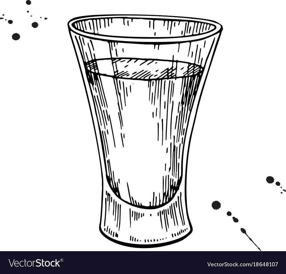 Shot glass drawing tequila vodka cocktail
