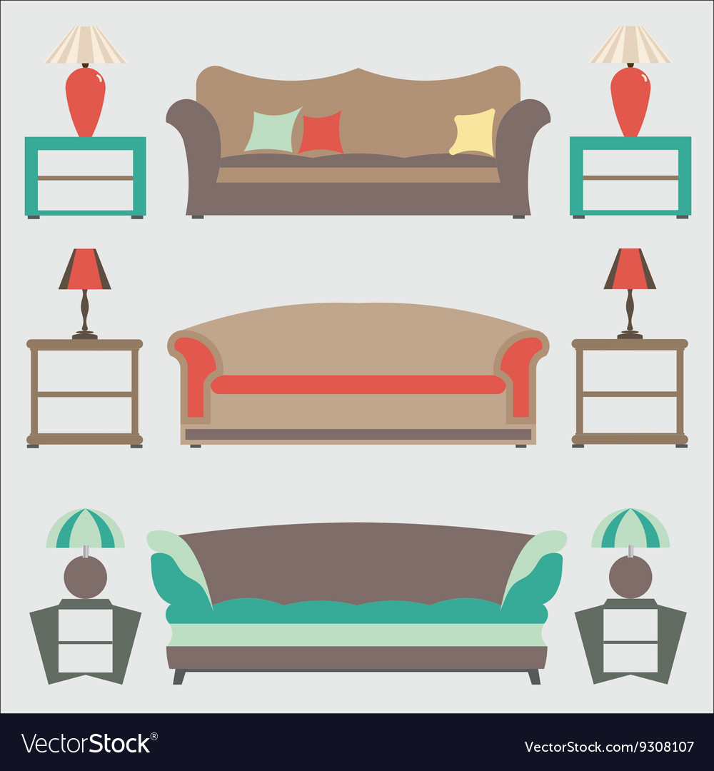 Picture of: Sofas Set Flat Side Table Royalty Free Vector Image