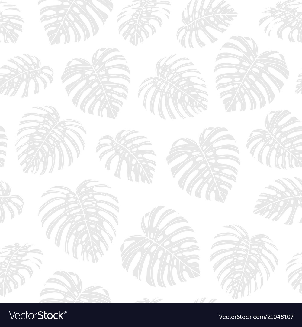 Tropical repeat pattern with gray monstera leaves