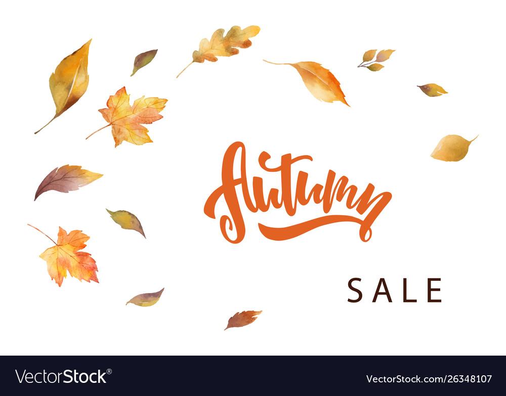 Watercolor autumn sale card template design