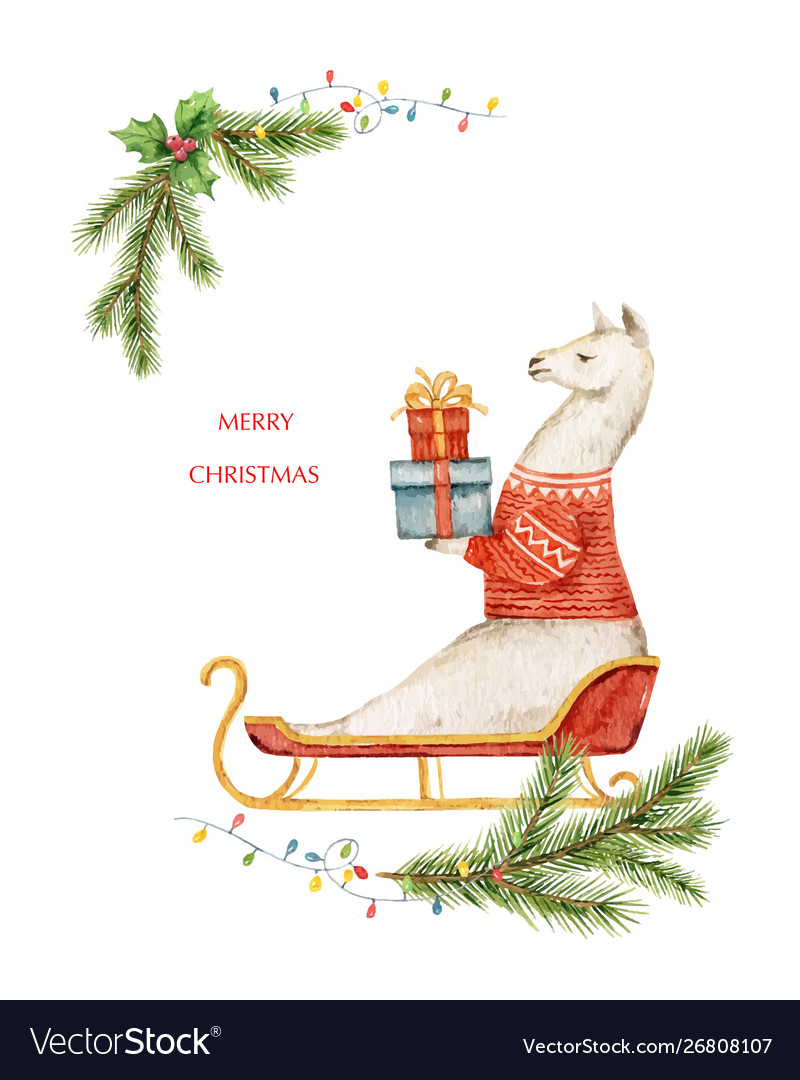 Watercolor christmas card llama or alpaca